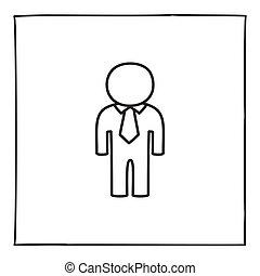 lina., pociągnięty, osoba obsadzają, ręka, ikona, logo, ...