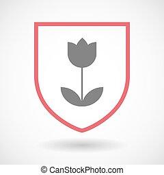 lina sztuka, tulipan, ikona, odizolowany, tarcza