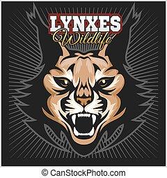 lince, illustration., lynxes, vector, logo., mascota, cabeza