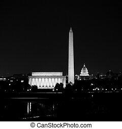 lincoln, capitole, nuit, washington, haut, dc, lit, horizon, monument, commémoratif, vue