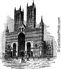Lincoln Cathedral or The Cathedral Church of the Blessed Virgin Mary of Lincoln. vintage engraving