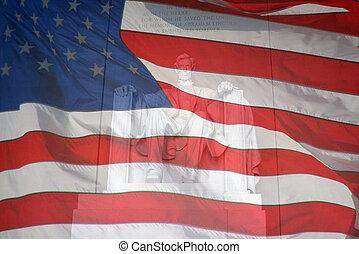 lincoln, compuesto, author., bandera, dos, fotos, tomado, monument.