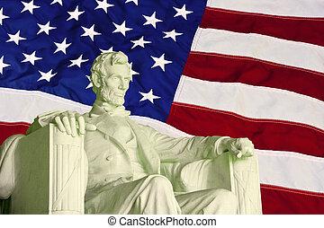 lincoln, drapeau, statue