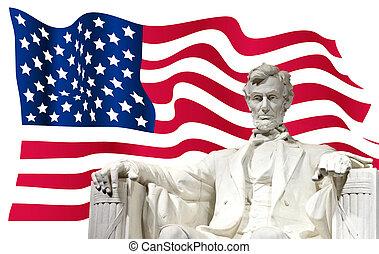 lincoln, flagga, oss, monument