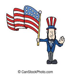 Lincoln Floating USA Flag Vector