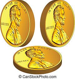 lincoln, guld, avbild, tre, cent, en, amerikansk pengar, ...