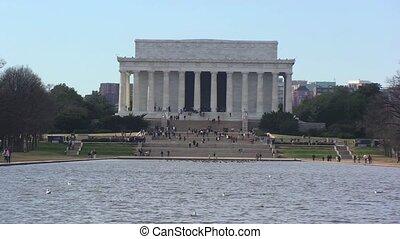 lincoln memoriał, z, jezioro, w, waszyngton, d. c., –, upływ czasu