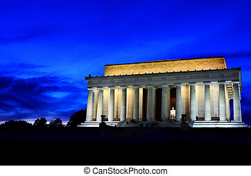 Lincoln Memorial at Night - Lincoln Memorial in DC at Night