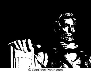 lincoln memorial - a black and white closeup illustration of...