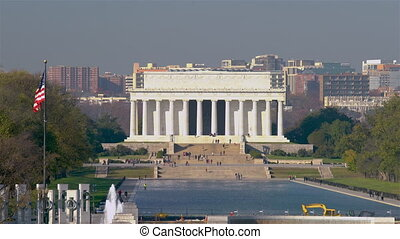 View on Lincoln memorial and pool in Washington DC