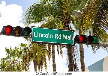 lincoln, miami, señal, localizado, alameda, calle, playa,...