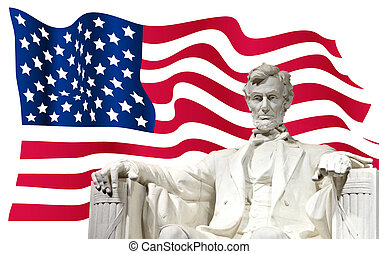 Lincoln monument with US flag - Lincoln monument with ...