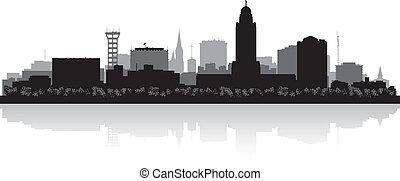 Lincoln Nebraska city skyline vector silhouette illustration