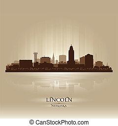 lincoln, nebraska, skyline, cidade, silueta