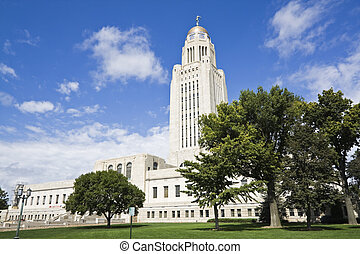 Lincoln, Nebraska - State Capitol Building with the trees