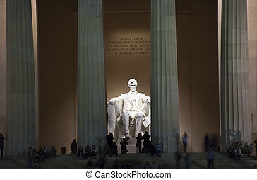 lincoln, noite, washington, memorial, dc, estátua
