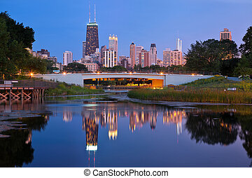 Lincoln Park, Chicago. - Image of the Chicago downtown...