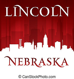 lincoln, plano de fondo, nebraska, ciudad, rojo, silueta