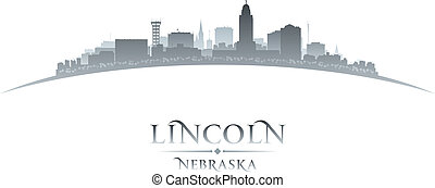 lincoln, plano de fondo, nebraska, ciudad, silueta, blanco