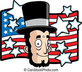 A cartoon Abraham Lincoln smiling.