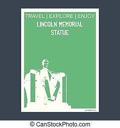 Lincoln Statue  Washington, DC, USA monument landmark brochure Flat style and typography vector