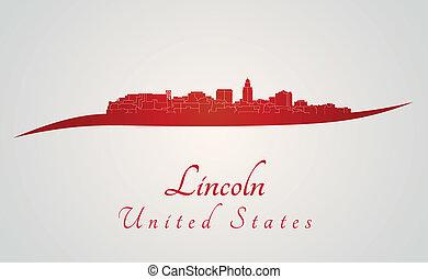 Lincoln, sylwetka na tle nieba, czerwony