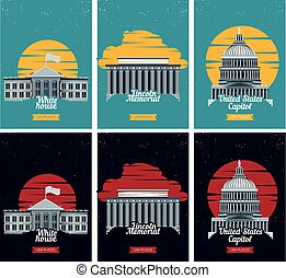 lincoln, touriste, usa, destination, capitole, illustration...