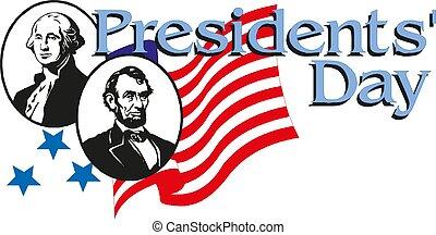 lincoln, usa, jour présidents, drapeau, washington, abraham, george, heureux