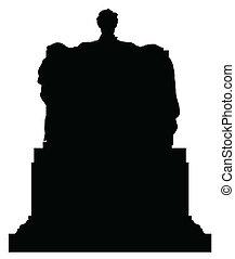 lincoln, vecteur, silhouette, abraham
