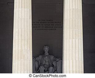 lincoln, washington, memorial, dc, estátua, alto, abraham, colunas