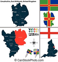 Vector map of Lincolnshire in East Midlands, United Kingdom with regions and flags