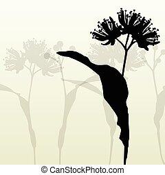 lind, blomningen, årgång, bakgrund, vektor, abstrakt