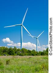 linda, generatorer, in, lantlig, area., förnybar energi