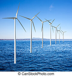 linda, generatorer, turbiner, in, den, hav