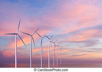 linda, generatorer, turbiner, in, den, hav, på, solnedgång
