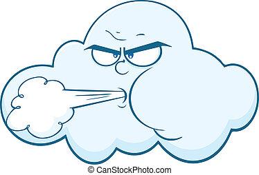 linda, moln, blåsning, ansikte
