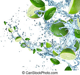lindar, med, vatten, plaska