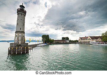 Lindau lighthouse and port - boden lake coast