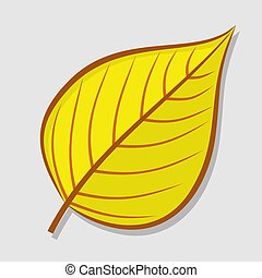 Linden autumn leaf isolated on a white background. Flat design Vector illustration