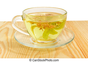 Linden flower tea in transparent glass cup closeup