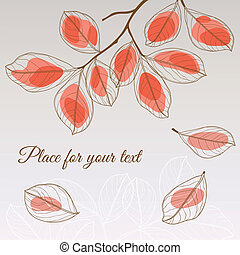 Linden leaf red style with place for your text