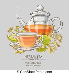 linden tea vector illustration