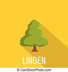 Linden tree icon, flat style