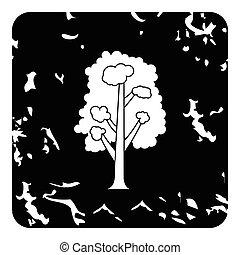Linden tree icon, grunge style