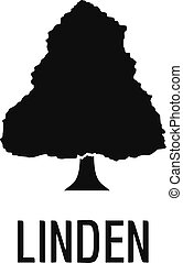 Linden tree icon, simple black style