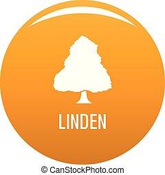 Linden tree icon vector orange