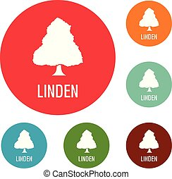 Linden tree icons circle set vector