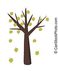 linden tree with falling leaves in simple flat design vector illustration