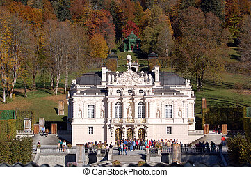 Linderhof Castle is an ornate palace in neo-French Rococo...