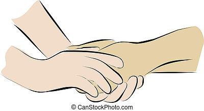 lindernde sorge, und, hände halten